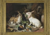 Henry Weekes, Rabbits and Guinea Pig, oil on canvas